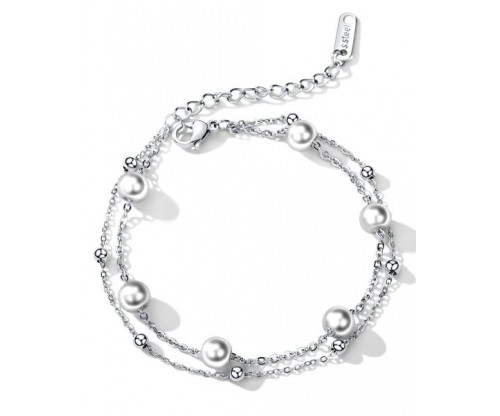 GIOELLE Trendy Bracelet, Pearl, Stainless Steel, Silver-tone plated