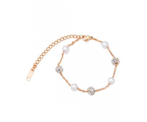 GIOELLE Trendy Bracelet, Pearls, Crystal, Stainless Steel, Rose gold-tone plated