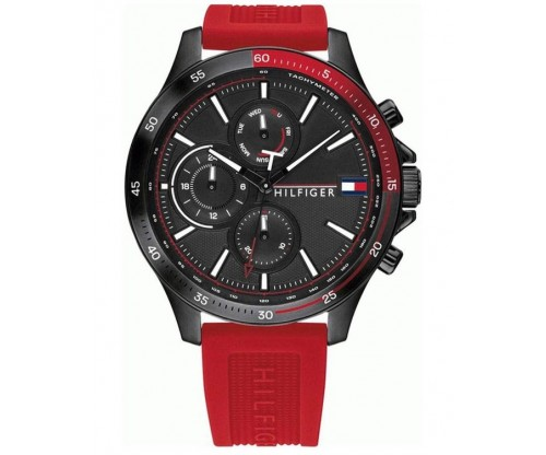 Tommy HILFIGER Bank Multifunction Red Rubber Strap