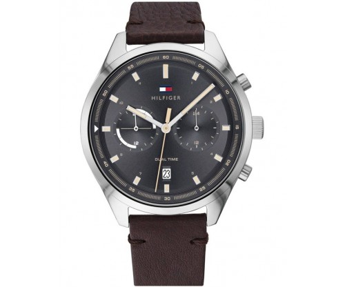 Tommy HILFIGER Bennett Dual Time Brown Leather Strap