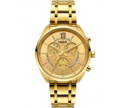 BREEZE Luxade Crystals Chronograph Gold Stainless Steel Bracelet