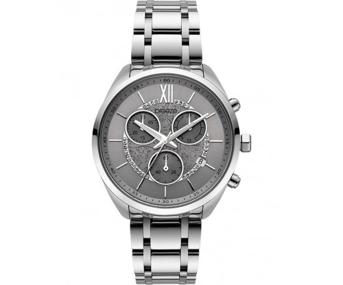 BREEZE Luxade Crystals Chronograph Silver Stainless Steel Bracelet