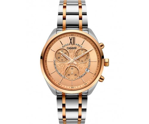 BREEZE Luxade Crystals Chronograph Two Tone Stainless Steel Bracelet