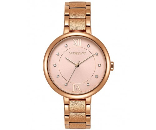 VOGUE Perfume Crystals Rose Gold Stainless Steel Bracelet