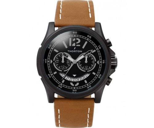 THORTON Ivar Dual time Leather Strap
