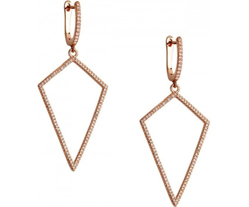 BREEZE Triangular Earrings, Alloy, Rose Gold-tone plated