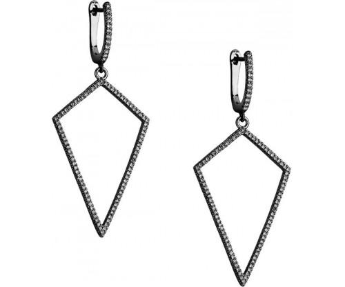 BREEZE Triangular Earrings, Alloy, Gun Metal-tone plated