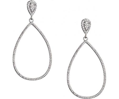 BREEZE Teardrop Earrings, Alloy, Silver-tone plated