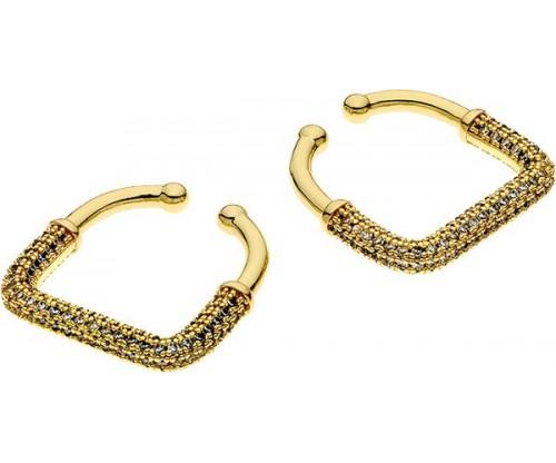 BREEZE Ear Cuff, Metal, Zircons, Gold-tone plated