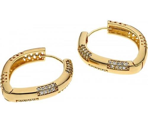BREEZE Irregular Hoop Earrings, Metal, Zircons, Gold-tone plated