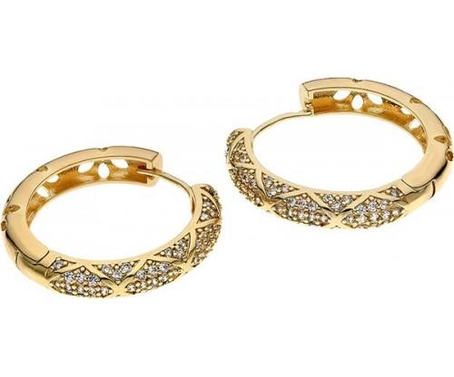 BREEZE Hoop Earrings, Metal, Zircons, Gold-tone plated