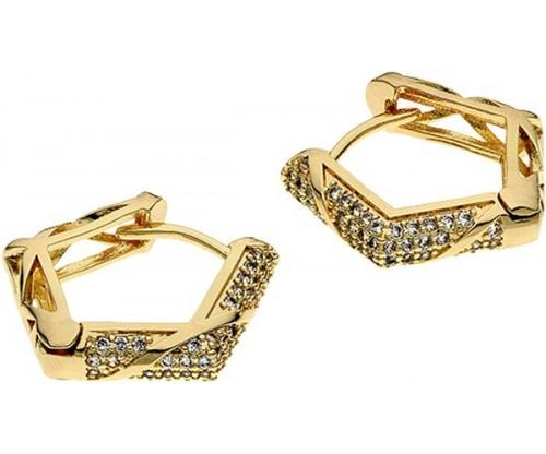 BREEZE Polygon Hoop Earrings, Metal, Zircons, Gold-tone plated