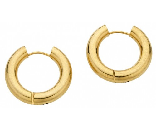 BREEZE Hoop Earrings, Stainless Steel, Gold-tone plated