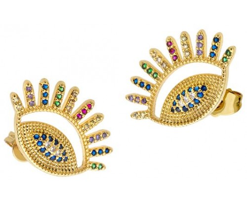 BREEZE Inca Eye Earrings, Alloy, Gold-tone plated plated