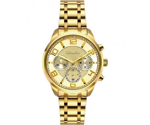 BREEZE Myrina Crystals Chronograph Gold Stainless Steel Bracelet