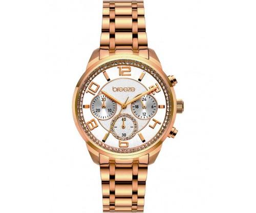 BREEZE Myrina Crystals Chronograph Rose Gold Stainless Steel Bracelet