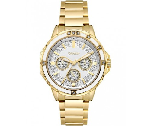 BREEZE Illumina Crystals Gold Stainless Steel Bracelet