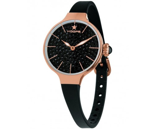 HOOPS Cherie Diamonds 160 Gold Crystals Black Rubber Strap