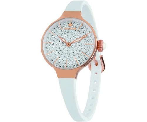 HOOPS Cherie Diamonds 160 Gold Crystals White Rubber Strap