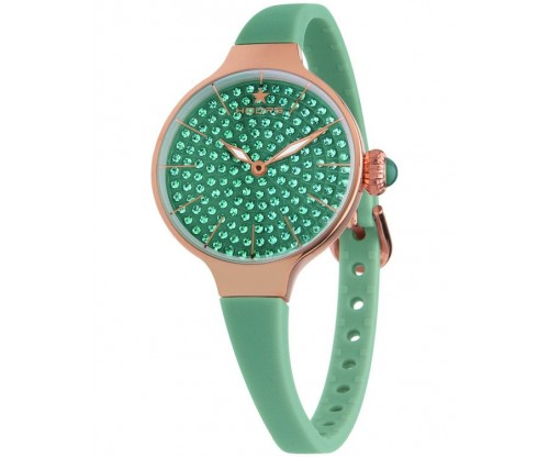 HOOPS Cherie Diamonds 160 Gold Crystals Green Rubber Strap