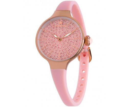 HOOPS Cherie Diamonds 160 Gold Crystals Pink Rubber Strap