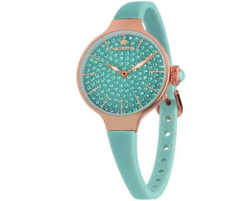 HOOPS Cherie Diamonds 160 Gold Crystals Turqoise Rubber Strap