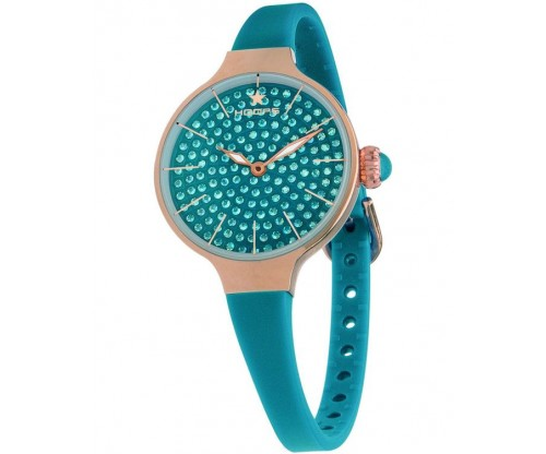 HOOPS Cherie Diamonds 160 Gold Crystals Blue Rubber Strap