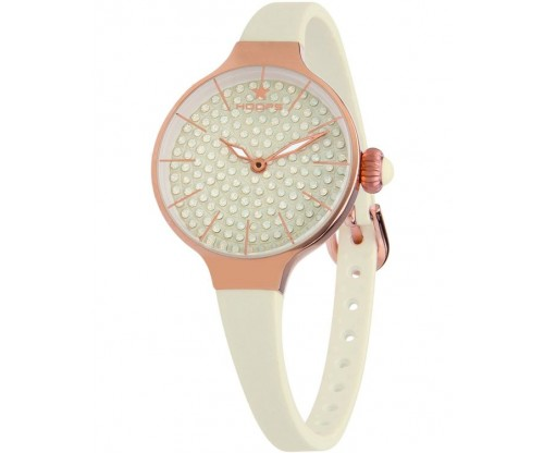 HOOPS Cherie Diamonds 160 Gold Crystals Beige Rubber Strap