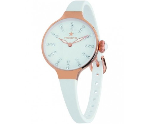 HOOPS Nouveau Cherie Diamond Index Gold Crystals White Rubber Strap