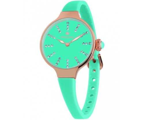 HOOPS Nouveau Cherie Diamond Index Gold Crystals Light Green Rubber Strap