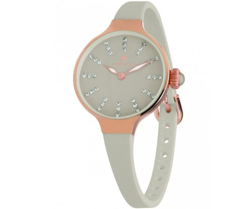 HOOPS Nouveau Cherie Diamond Index Gold Crystals Grey Rubber Strap