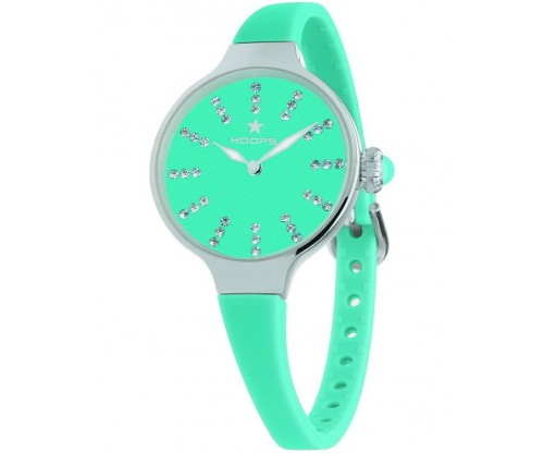 HOOPS Nouveau Cherie Diamond Index Crystals Light Green Rubber Strap