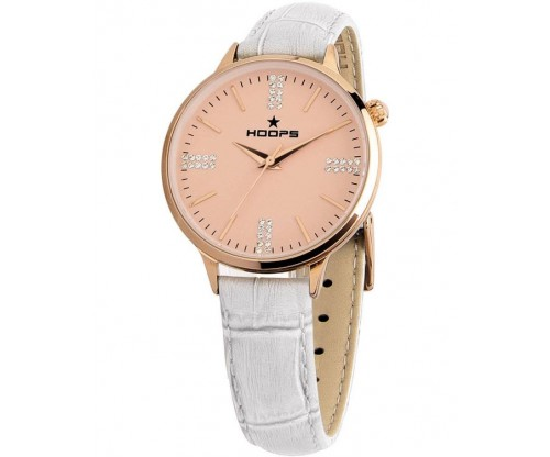 HOOPS Classic Chic Gold Crystals White Leather Strap