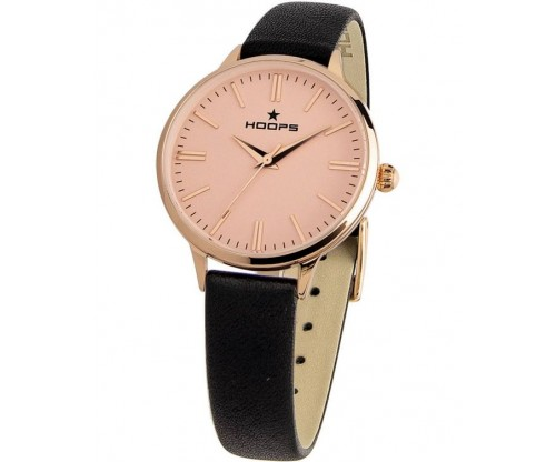 HOOPS Classic Gold Black Leather Strap