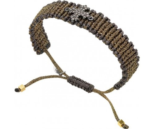 BREEZE Knitted Bracelet, Alloy, Gun Metal-tone plated