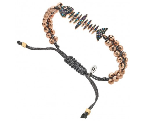 BREEZE Macramé Bracelet, Metalized Cord, Rose Gold  plated