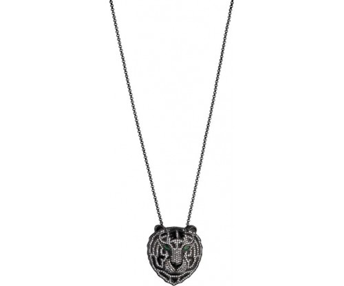 BREEZE Tiger Necklace, Stainless steel, Gun Metal-tone plated