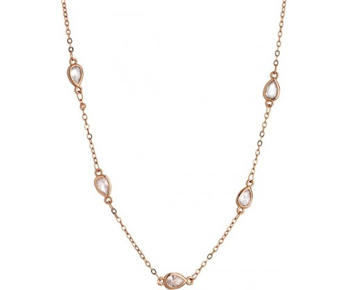BREEZE Station Necklace, Alloy, Rose Gold-tone plated