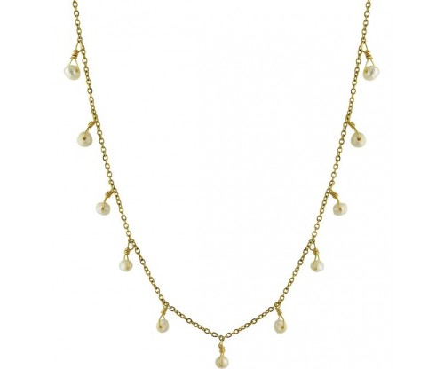BREEZE Pearl Chain Necklace, Baroque Pearls , Steel, Gold-tone plated