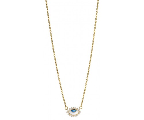 BREEZE Evil Eye Necklace, Stainless steel, Gold-tone plated