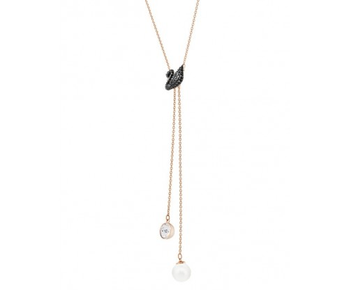 SWAROVSKI Swarovski Iconic Swan Y Necklace, Black, Rosegold tone plated