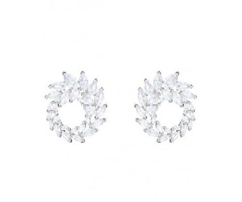 SWAROVSKI Louison Hoop Pierced Earrings, White, Rhodium Plated