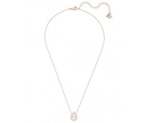 SWAROVSKI Sparkling Dance Pear Necklace, White, Rose gold plating