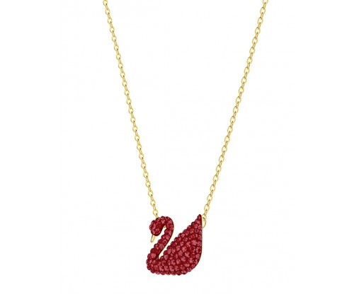 SWAROVSKI Iconic Swan Pendant, Red, Gold plating