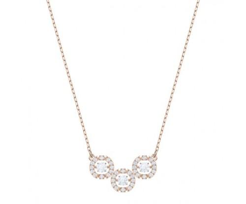 SWAROVSKI Sparkling Dance Trilogy Necklace, White, Rose gold tone plated
