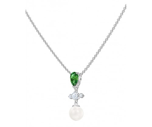 SWAROVSKI Perfection Necklace, Green, Rhodium plated