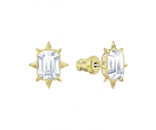 SWAROVSKI Tarot Magic Stud Pierced Earrings, White, Gold tone plated