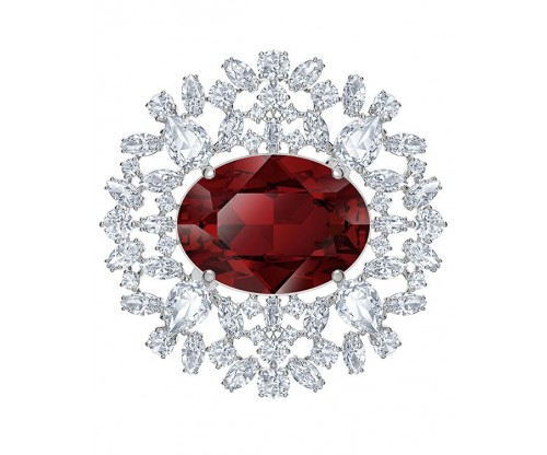 SWAROVSKI Louison Brooch, Red, Rhodium plated