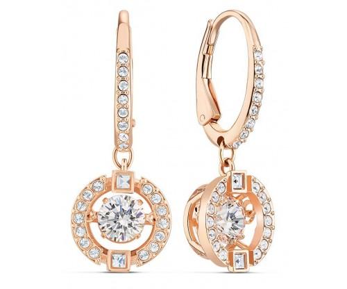 SWAROVSKI Sparkling Dance Pierced Earrings, White, Rosegold tone plated