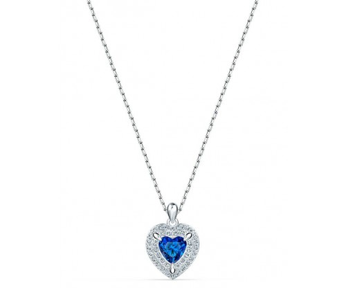 SWAROVSKI One Pendant, Blue, Rhodium plated